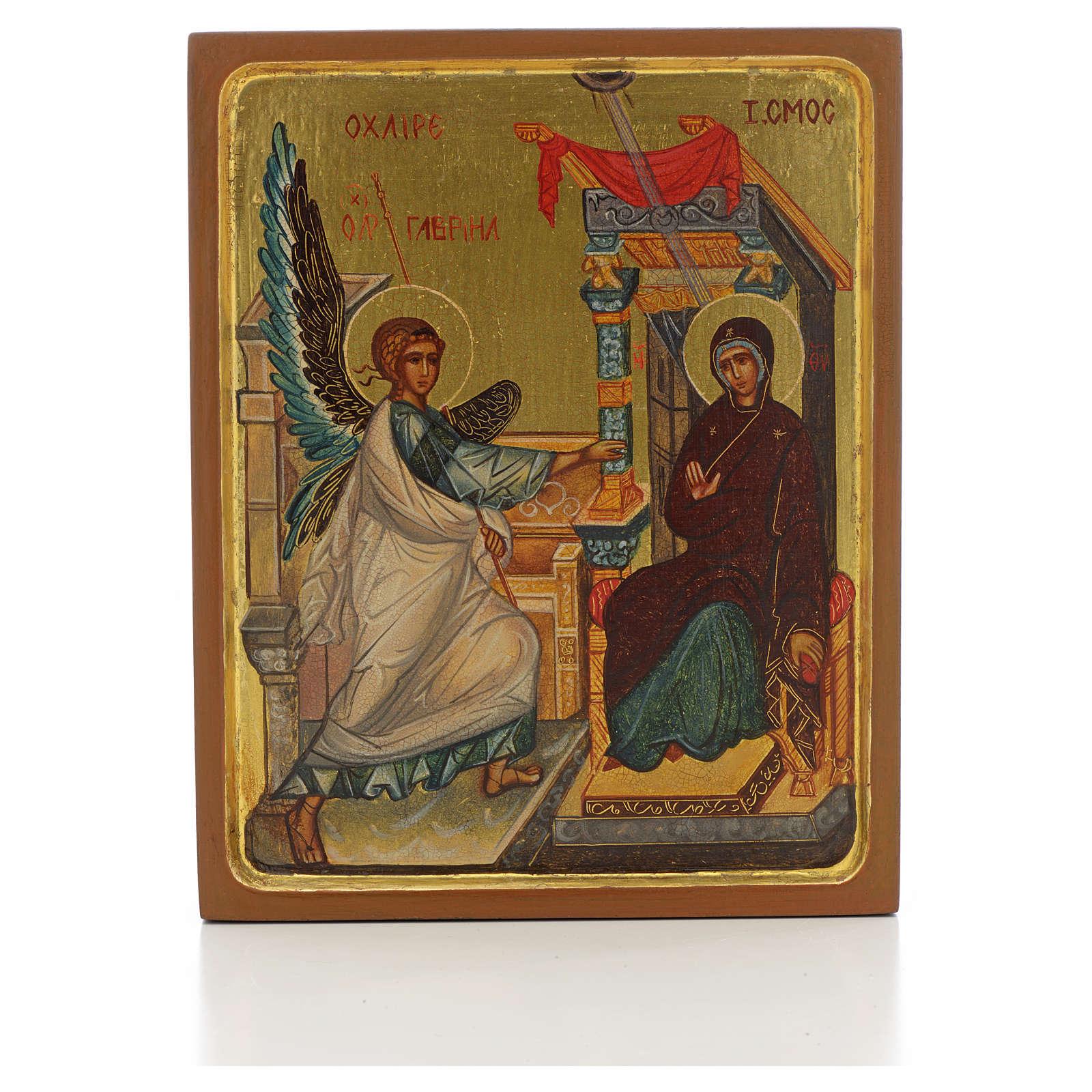 Icona russa dipinta Annunciazione bordo alto 4