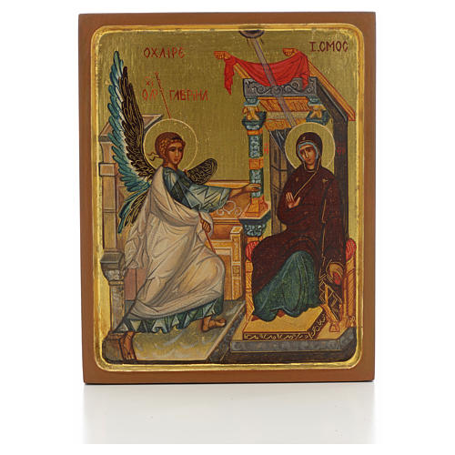 Russian icon, Annunciation with thick frame 1