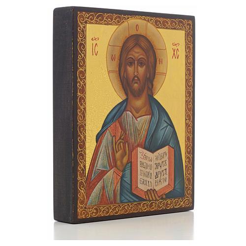 Icona russa dipinta Cristo Pantocratico 14x11 cm 2