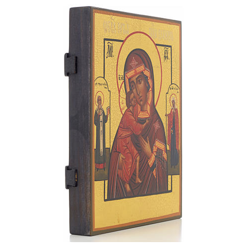 Icone russe Mère de Dieu de Feodor avec 2 Saint, 21x17 cm 2