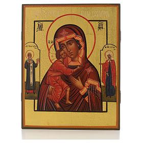Icona russa Madonna di Fiodor con 2 santi 21x17 s1