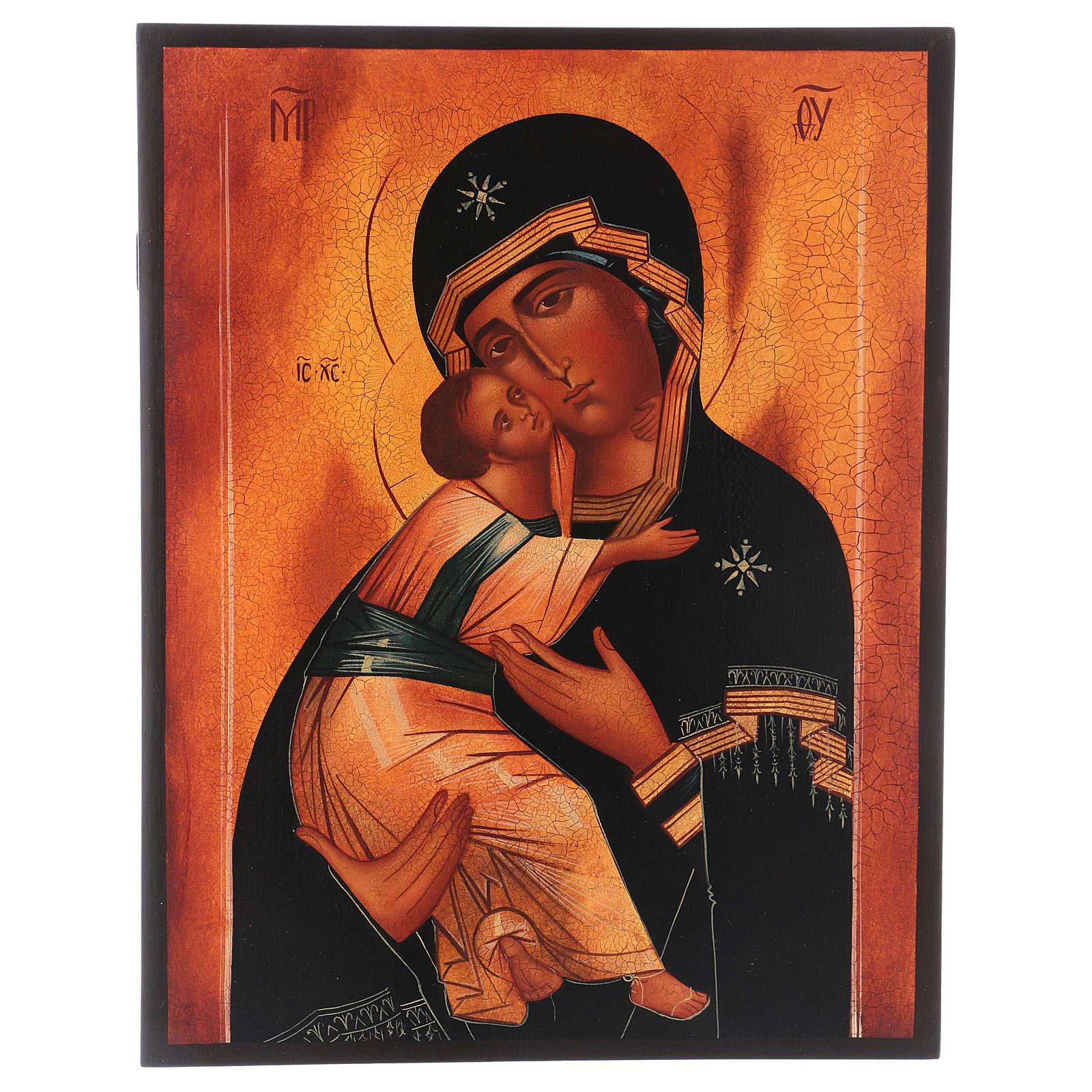 Icona russa Madonna di Vladimir 28x22 cm 4