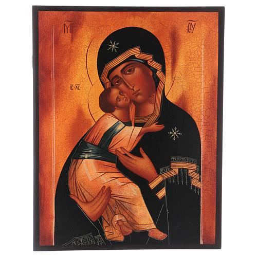 Icona russa Madonna di Vladimir 28x22 cm 1