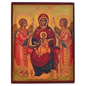 Icona russa dipinta Madonna in trono tra angeli 14x11 s1