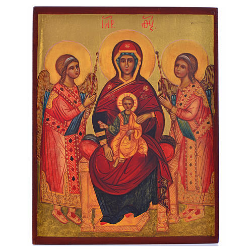 Icona russa dipinta Madonna in trono tra angeli 14x11 1