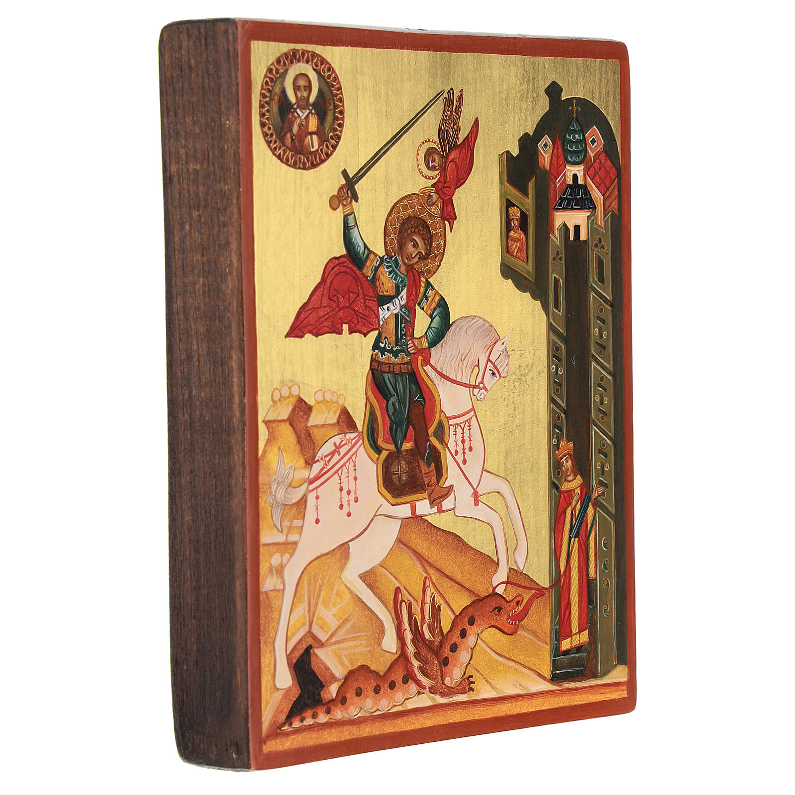 Russian painted icon, Saint George measuring 14x10 cm 4