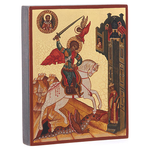 Russian painted icon, Saint George measuring 14x11cm 2