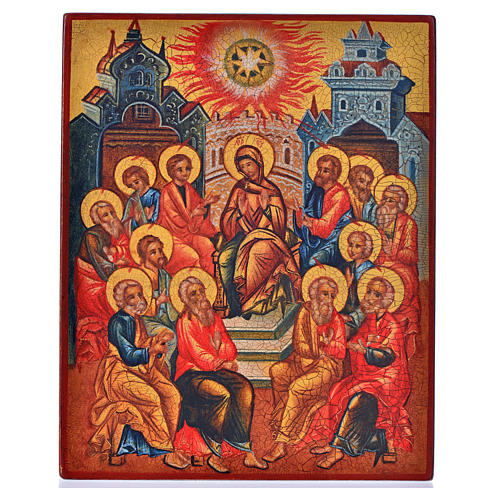 Icona russa dipinta Pentecoste 14x11 1