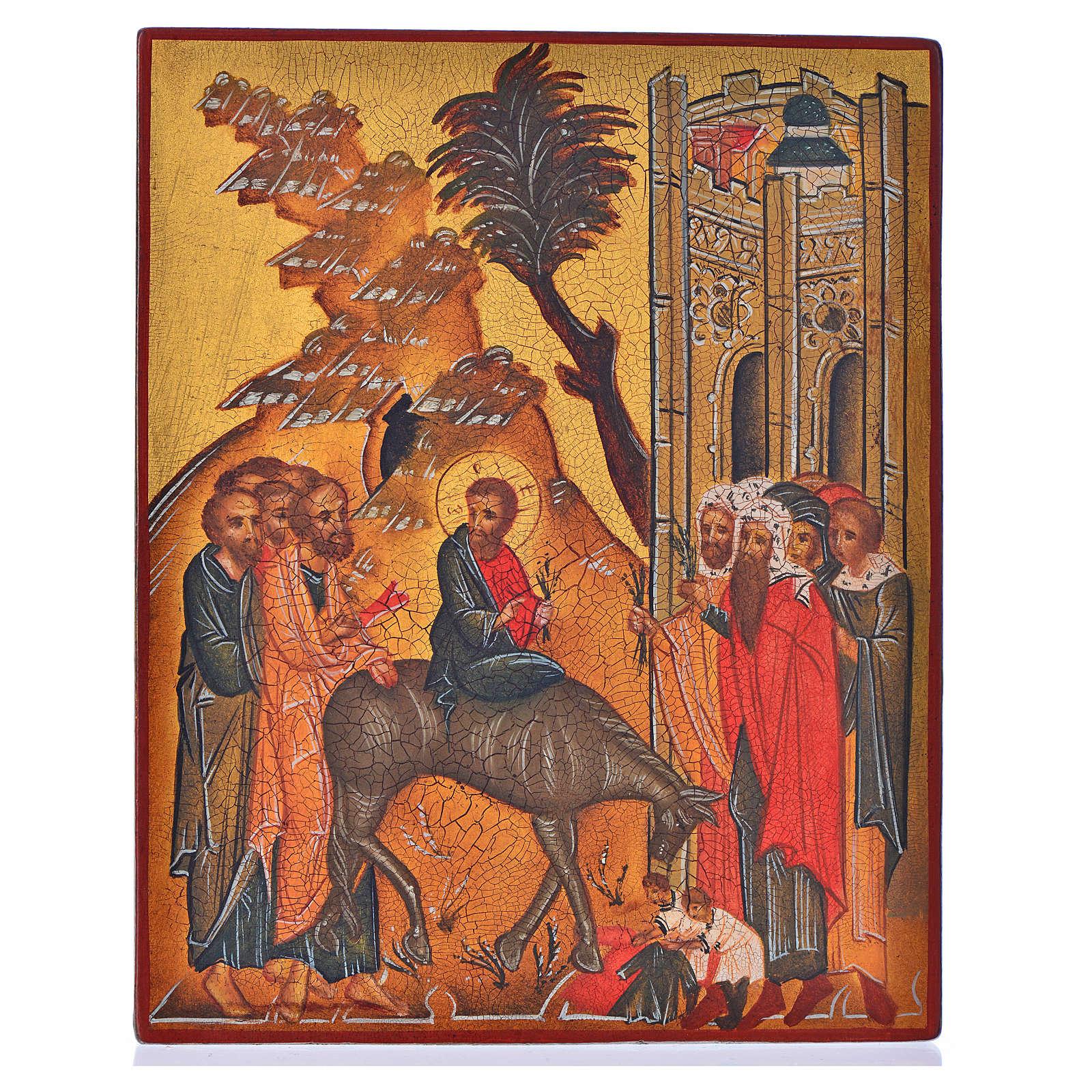 Icona russa L'ingresso di Cristo in Gerusalemme 14x11 4