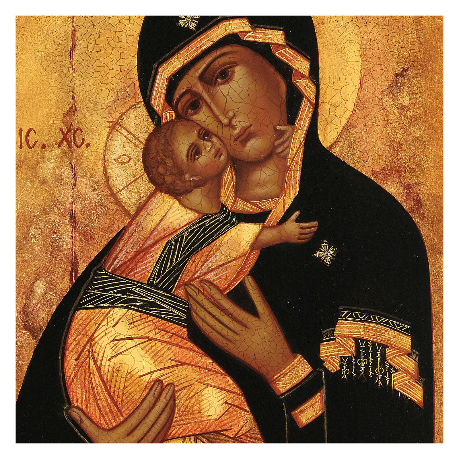 Russian icon, Our Lady of Vladimir 14x10 cm 4