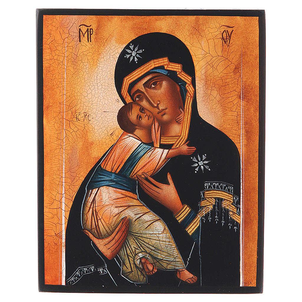 Icona russa Madonna di Vladimir 14x11 4