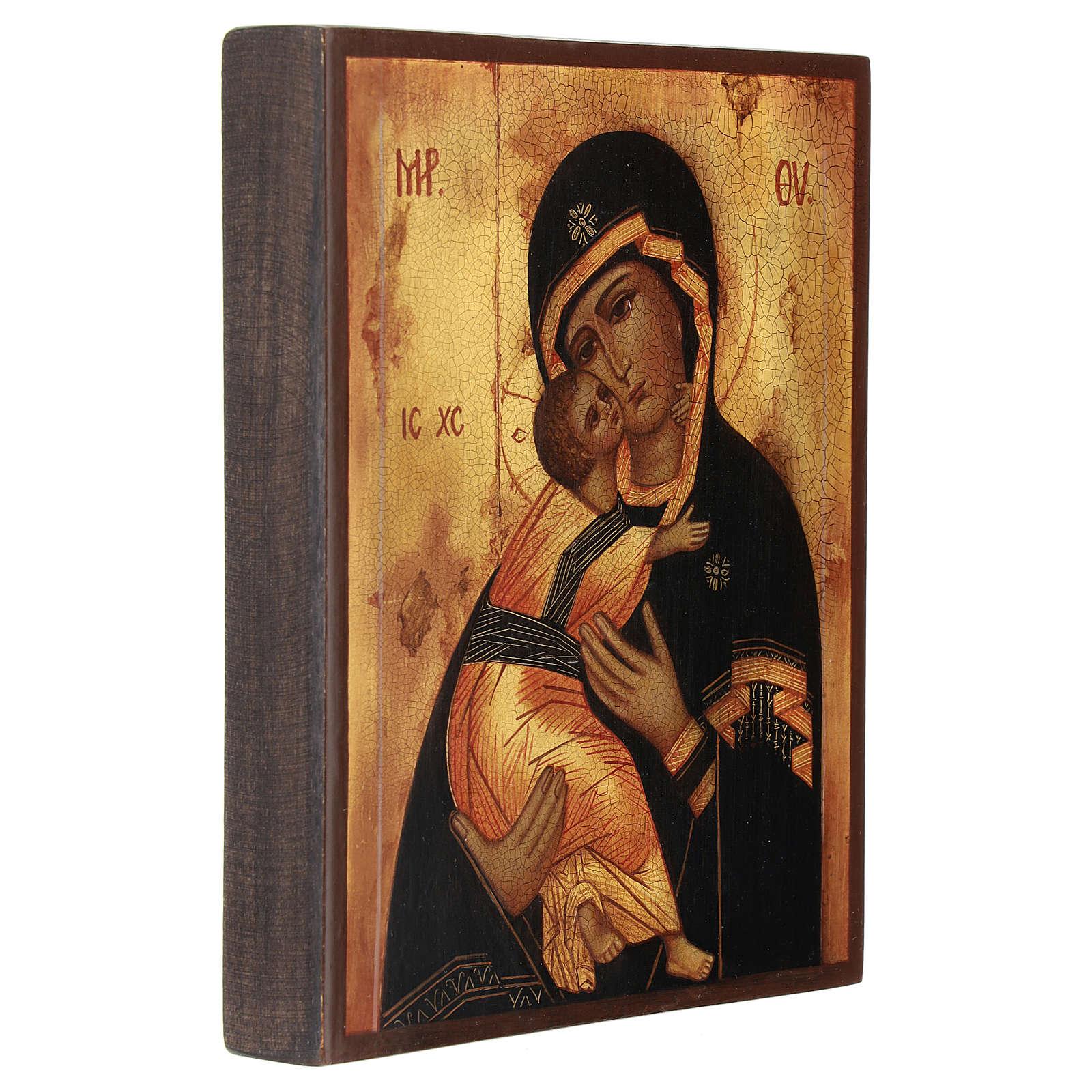 Icona russa Madonna di Vladimir 14x10 cm 4