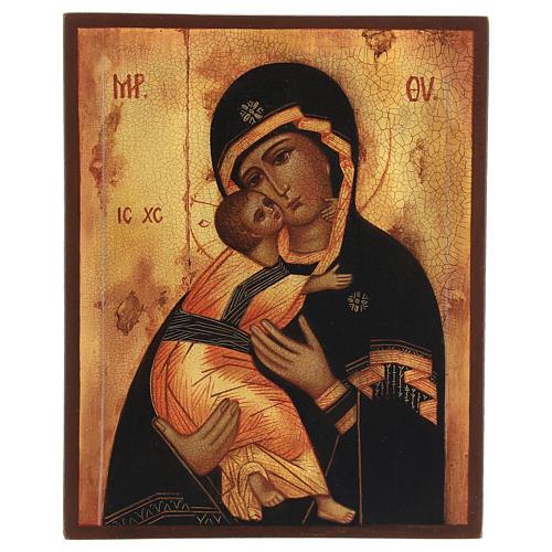 Icona russa Madonna di Vladimir 14x10 cm 1