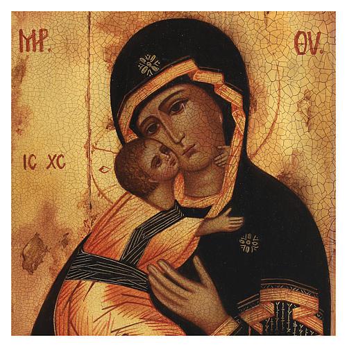 Icona russa Madonna di Vladimir 14x10 cm 2
