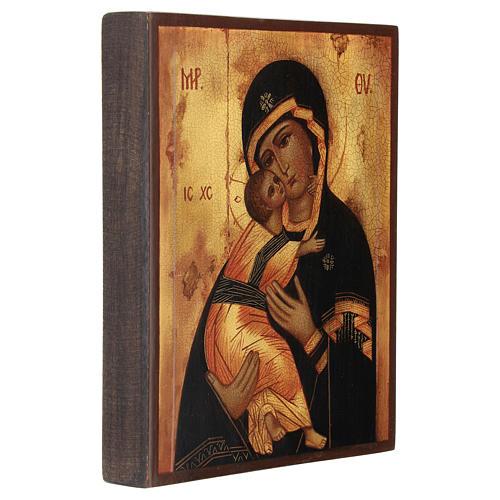 Icona russa Madonna di Vladimir 14x10 cm 3