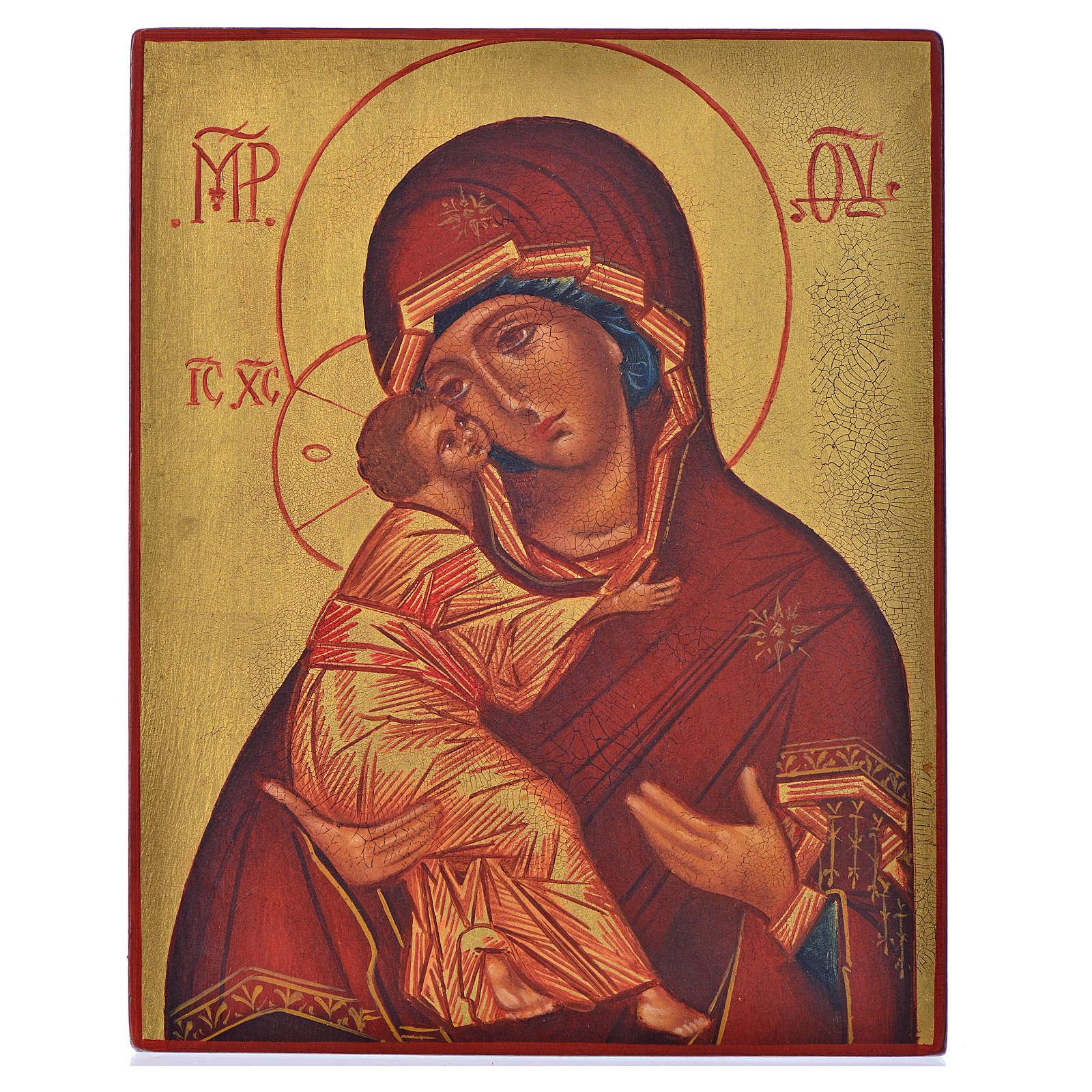 Icona russa Madonna di Vladimir manto rosso 14x11 4