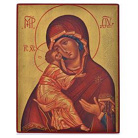 Icona russa Madonna di Vladimir manto rosso 14x11 s1
