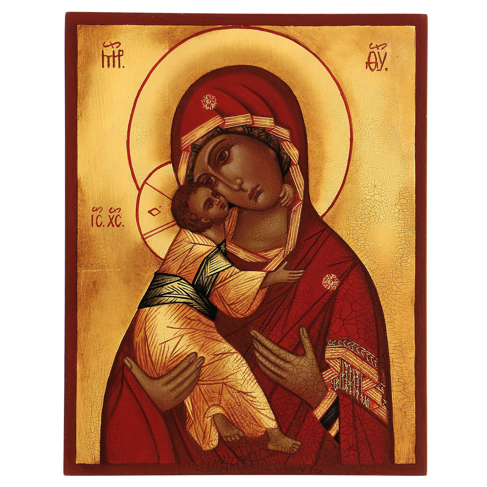Ikona rosyjska Madonna Włodzimierska czerwony płaszcz 14x10 cm 4