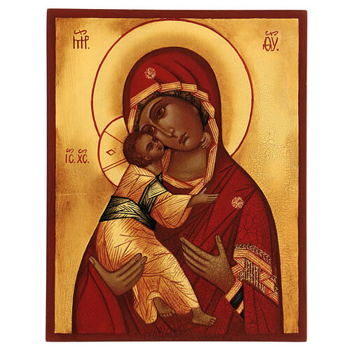 Ikona rosyjska Madonna Włodzimierska czerwony płaszcz 14x10 cm 1