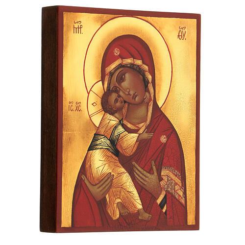 Ikona rosyjska Madonna Włodzimierska czerwony płaszcz 14x10 cm 2