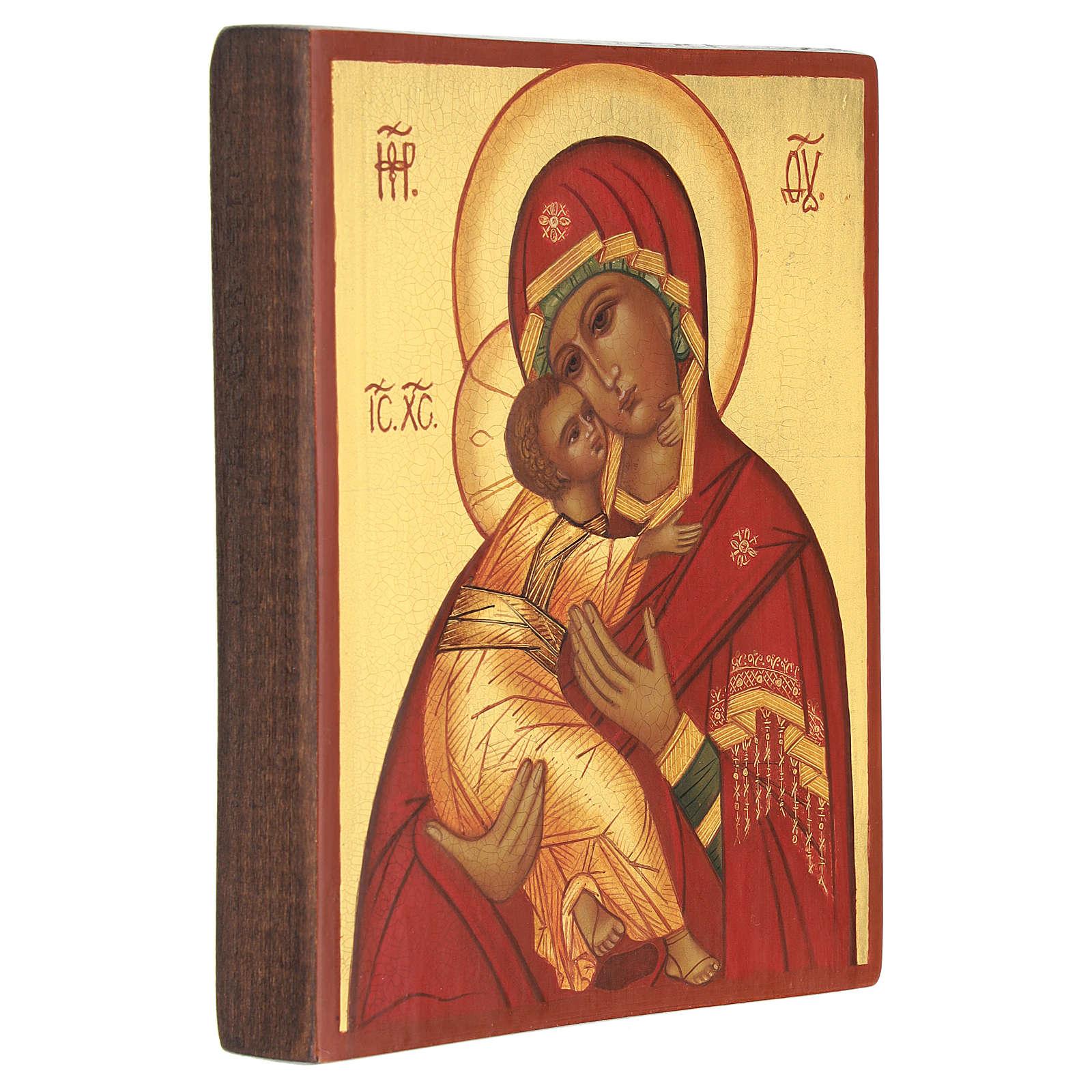 Ícone russo Nossa Senhora de Vladimir manto vermelho 14x11 cm 4