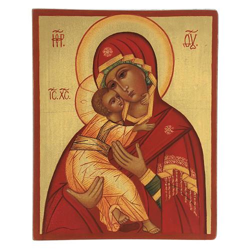Ícone russo Nossa Senhora de Vladimir manto vermelho 14x11 cm 1