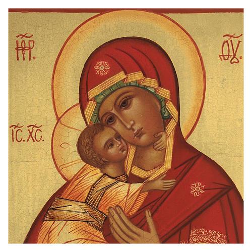 Ícone russo Nossa Senhora de Vladimir manto vermelho 14x11 cm 2