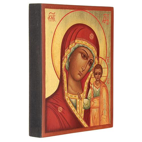 Icona russa Madonna di Kazan 14x10 cm dipinta 3
