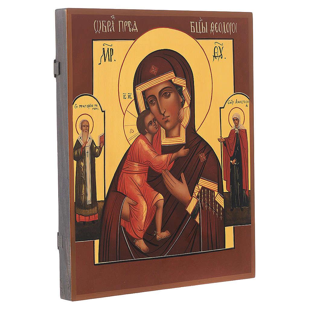 Icona russa dipinta Madonna di Fiodor 36x30 cm 4