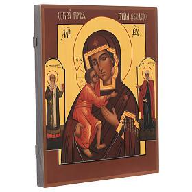 Icona russa dipinta Madonna di Fiodor 36x30 cm s2