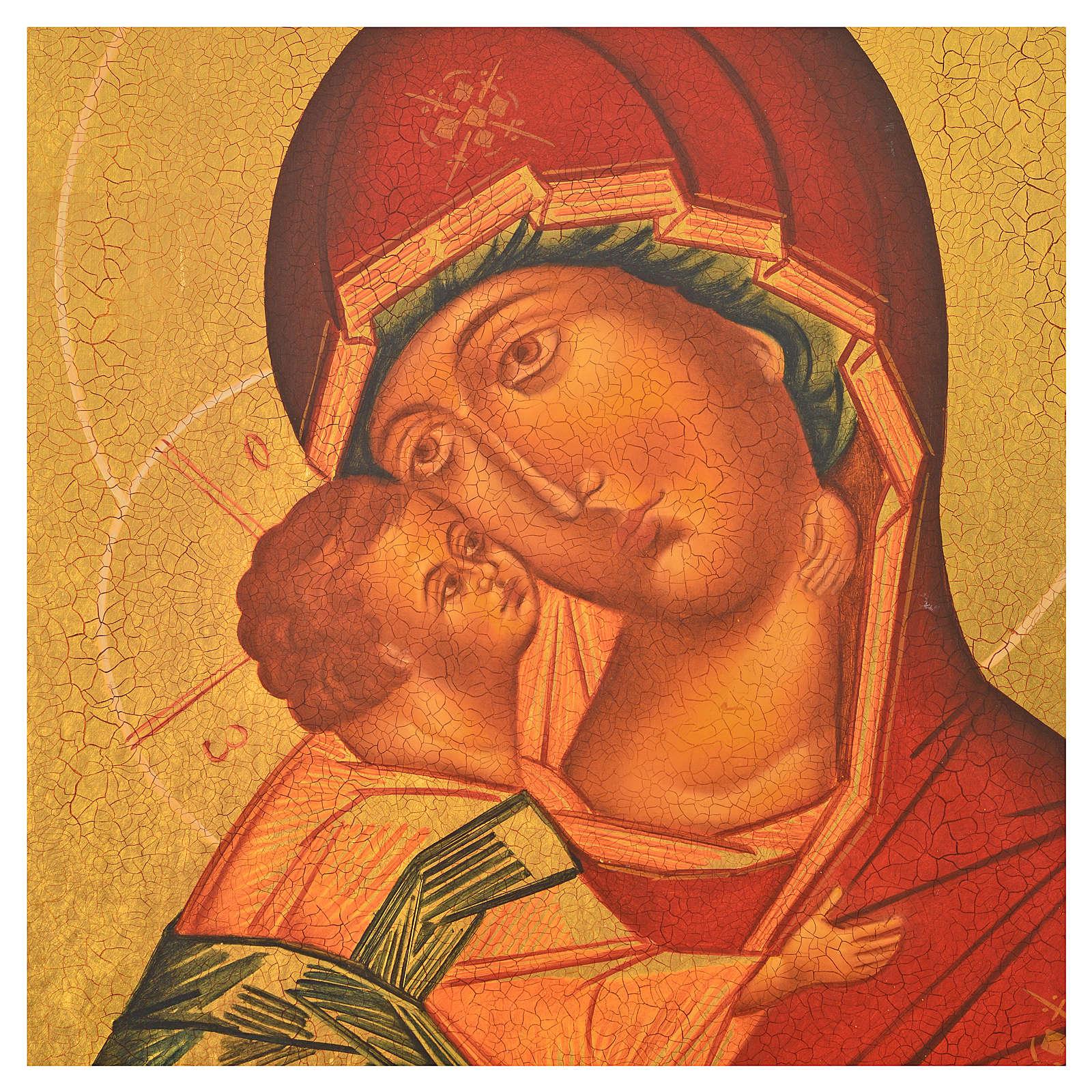 Icona russa dipinta Madonna di Vladimir manto rosso 36x30 4
