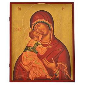 Icona russa dipinta Madonna di Vladimir manto rosso 36x30 s1