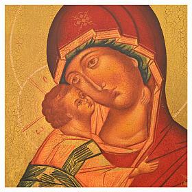 Icona russa dipinta Madonna di Vladimir manto rosso 36x30 s2