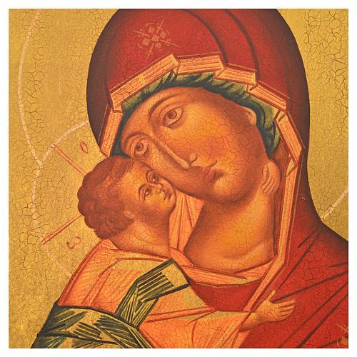 Icona russa dipinta Madonna di Vladimir manto rosso 36x30 2