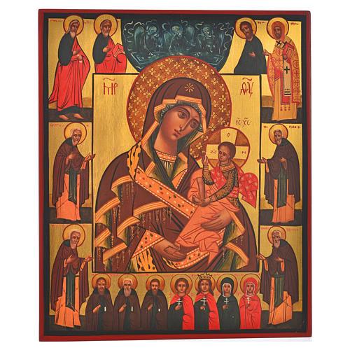 Icona russa dipinta Madonna di Fiodor 36x30 1
