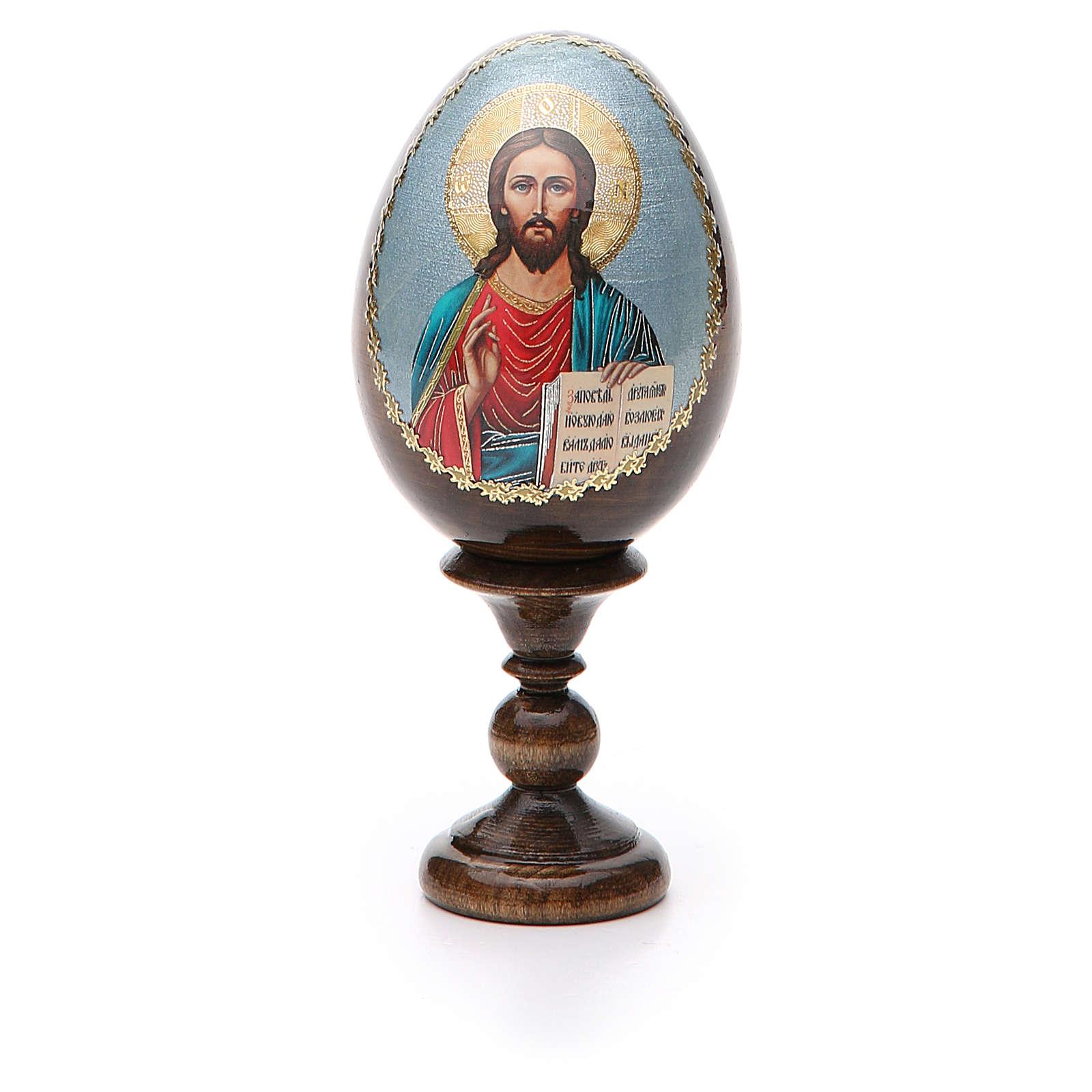 Huevo ruso de madera découpage Pantocrator altura total 13 cm 4