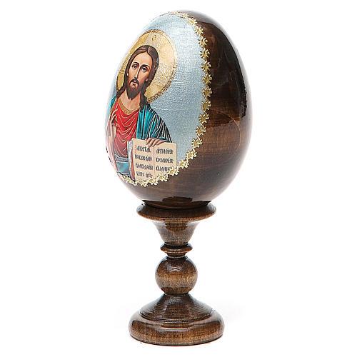 Huevo ruso de madera découpage Pantocrator altura total 13 cm 2