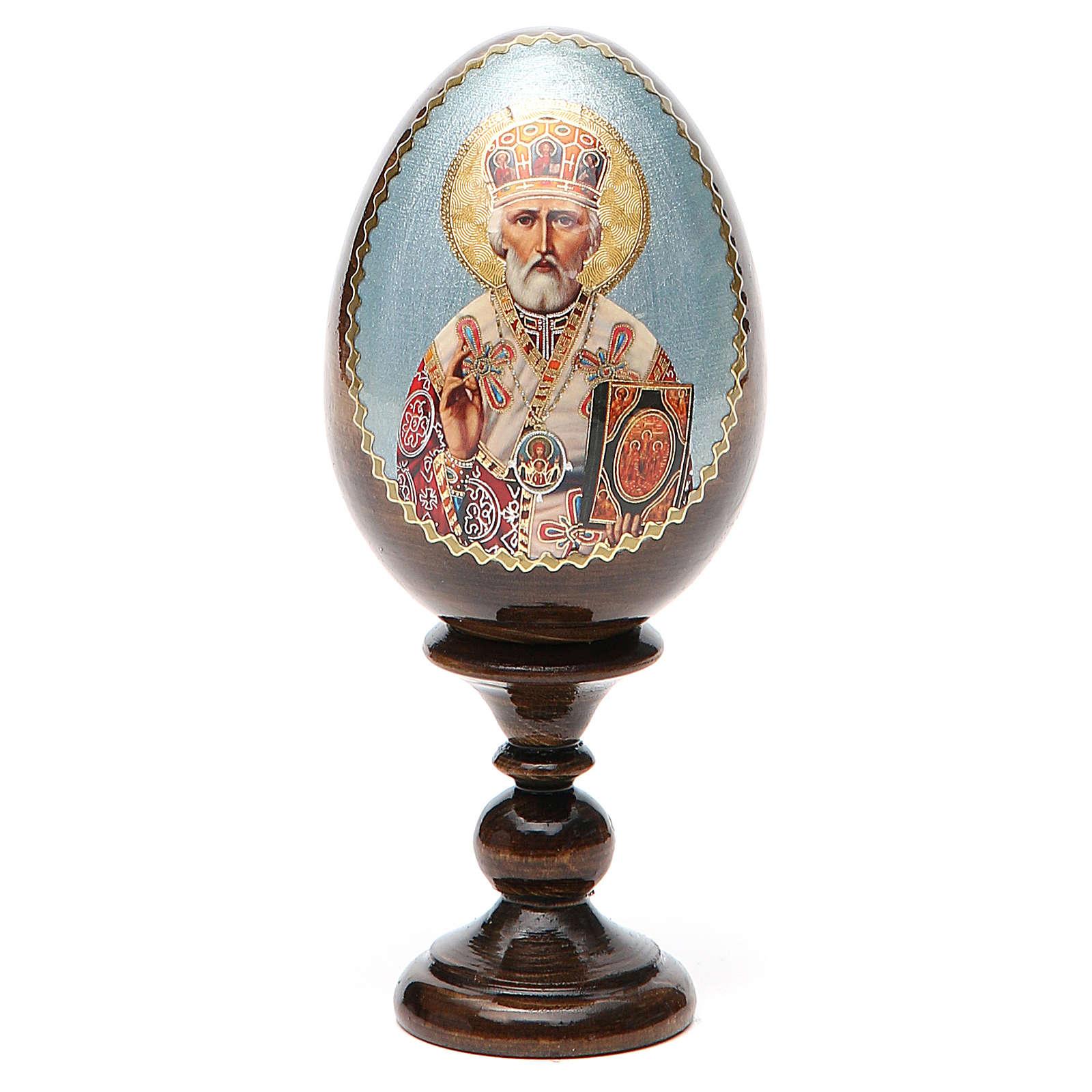 Uovo russo legno découpage San Nicola h tot. 13 cm 4
