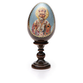 Uovo russo legno découpage San Nicola h tot. 13 cm s5