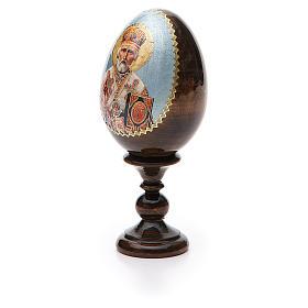 Uovo russo legno découpage San Nicola h tot. 13 cm s6