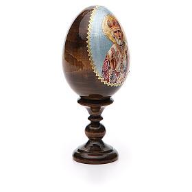 Uovo russo legno découpage San Nicola h tot. 13 cm s8