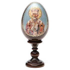 Uovo russo legno découpage San Nicola h tot. 13 cm s9
