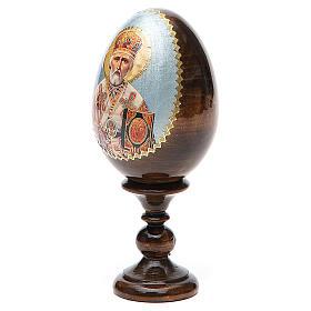 Uovo russo legno découpage San Nicola h tot. 13 cm s10