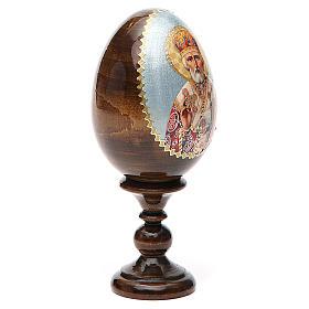 Uovo russo legno découpage San Nicola h tot. 13 cm s12