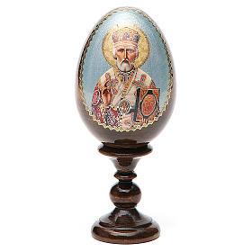 Uovo russo legno découpage San Nicola h tot. 13 cm s1