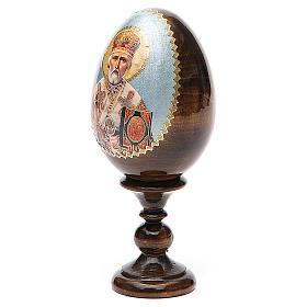 Uovo russo legno découpage San Nicola h tot. 13 cm s2