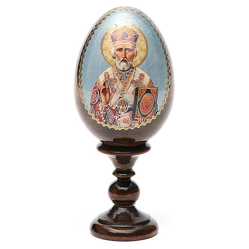 Uovo russo legno découpage San Nicola h tot. 13 cm 1
