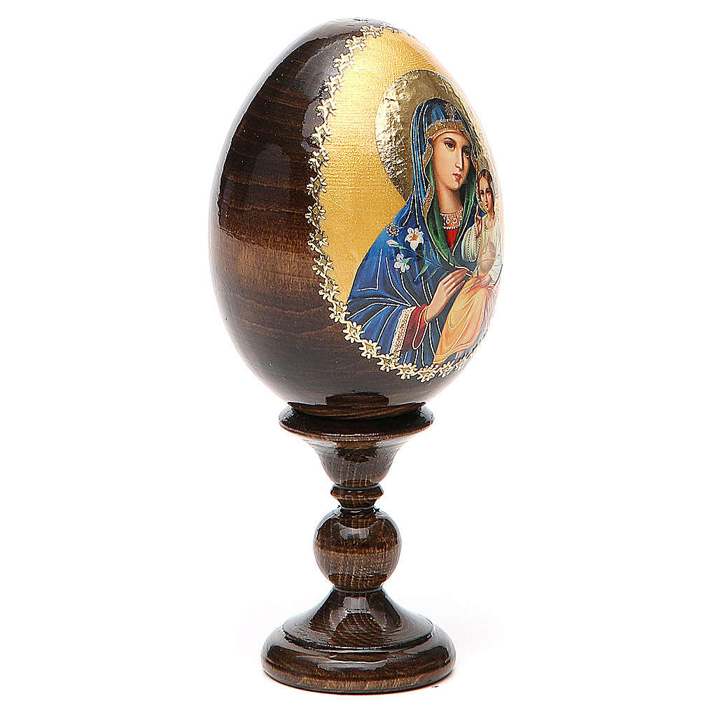 Huevo ruso de madera Virgen de los Lirios Blancos altura total 13 cm 4