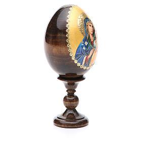 Huevo ruso de madera Virgen de los Lirios Blancos altura total 13 cm s8