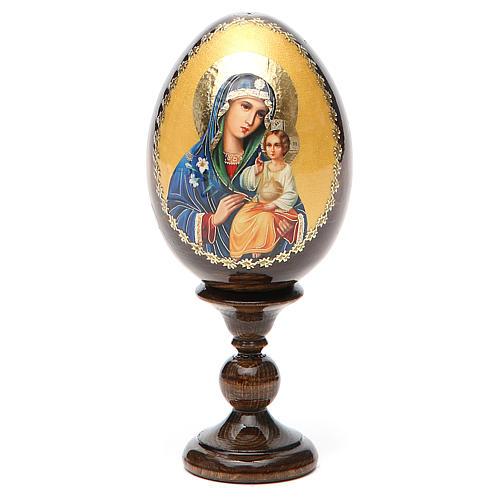 Huevo ruso de madera Virgen de los Lirios Blancos altura total 13 cm 9